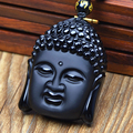 JoursNeige Natural Stone Obsidian Buddha Head Pendant Bead Chain Tathagata Amulet Lucky Necklace Opening For Men Women Jade