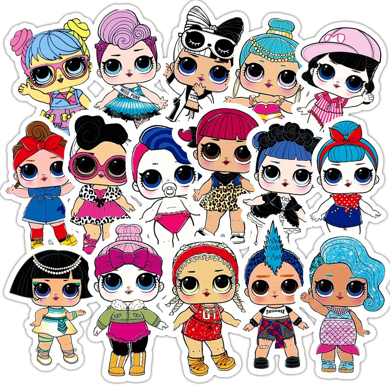 35 Pcs Cute  Stickers Personality Doll Stickers Children's Pvc Graffiti Stickers Suitcase Car Boot Guitar Waterproof