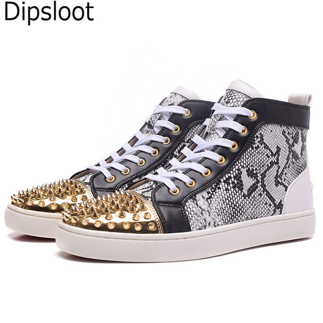 Hot Rivets Studs Python Leather Patchwork Flats Shoes High Top Women  Sneaker Lace-Up Shoes Men Glitter Gold toe Casual Shoes 4c373d034beb