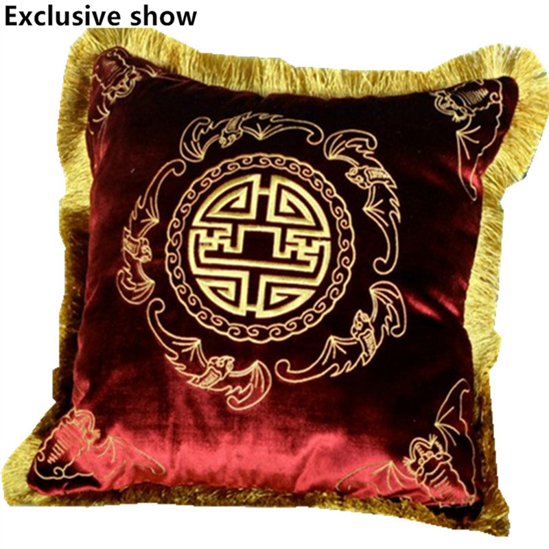 chinese style velvet embroidered gold tassel car cover sofa cushion decorative pillow cover 197 inch pillowcases free shipping - Gold Decorative Pillows