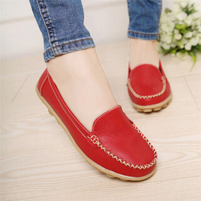 woweino Comfortable Women's Casual Flat Shoes Cute Cover Toe Vintage PU Leather Shallow Slip on Shoes for Women Mujer