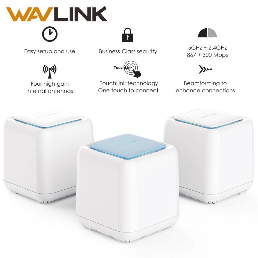 Routeur Wifi intelligent sans fil Wavlink AC1200 double bande 2.4/5Ghz pour toute la maison système de maille WiFi Touchlink routeur répéteur WI-FI Gigabit