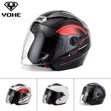 YOHE Helmet Dual Shield Unisex Abs Shell 3/4 Open Face Helmet Motorcycle Helmet Motorbike Ece Quick Release System YH- 868