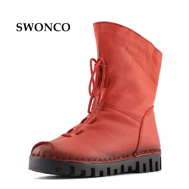 Genuine Leather Women Winter Ankle Boots Warm Short Plush Fashion Sewing High Quality Women Snow Boots Rubber Sole Female Shoes 2017 cow suede genuine leather female boots all season winter short plush to keep warm ankle boot solid snow boot bota feminina