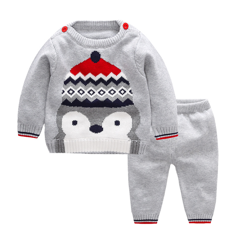 Baby Clothes for Boys Sets Cartoon Black Gray Cotton Warm Sweater Suits Autumn Sets Newborns 2 Years Baby Boy Children Clothing