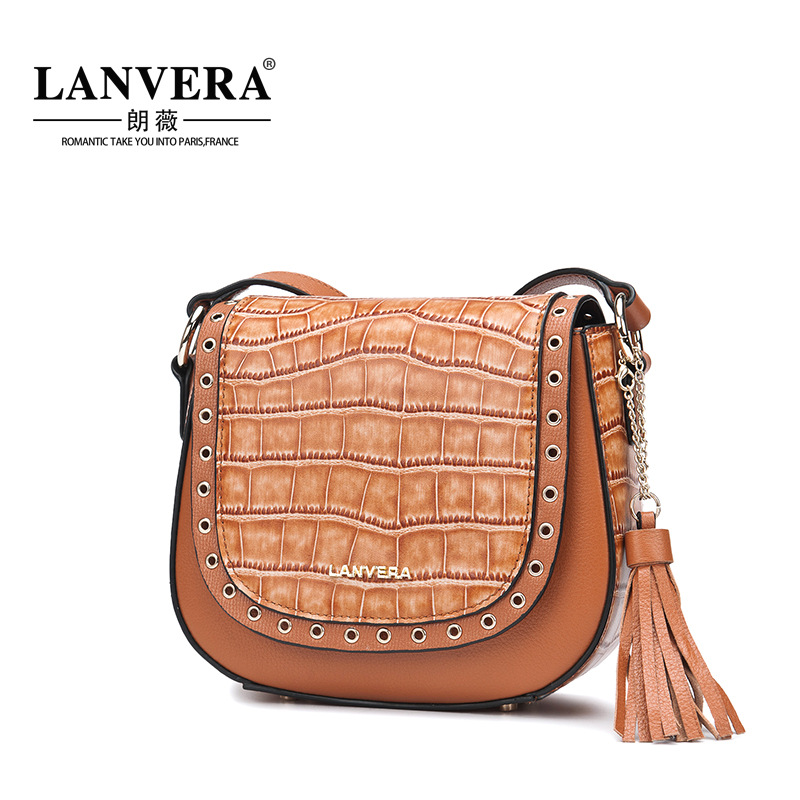 Women Messenger Bag Genuine Leather High Quality Vintage Crocodile Rivet Texture Crossbody Causal Cover Saddle Bag For Lady sa212 saddle bag motorcycle side bag helmet bag free shippingkorea japan e ems