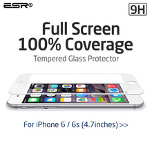 Screen Protector for iPhone 6/ 6s , ESR HD Clear 0.33mm Full Screen Tempered Glass Film for iPhone 6s/6
