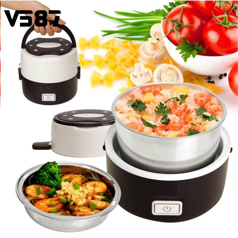 1 3l portable lunch box electric rice cooker stainless steel 2 layers steamer picnic bento food. Black Bedroom Furniture Sets. Home Design Ideas