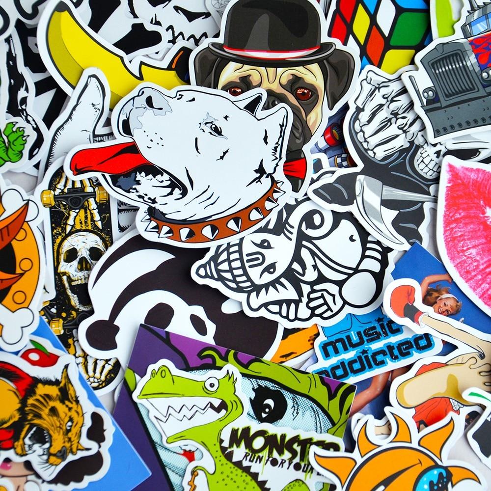 Sticker wall graffiti - 100 Pcs Car Styling Decal Stickers Wall Sticker Car Covers Skateboard Snowboard Motorcycle Bike Laptop Sticker