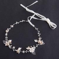 TREAZY Luxury Freshwater Pearl Crystal Floral Headband Wedding Hair Accessories Handmade Flower Tiaras Bridal Hair Jewelry