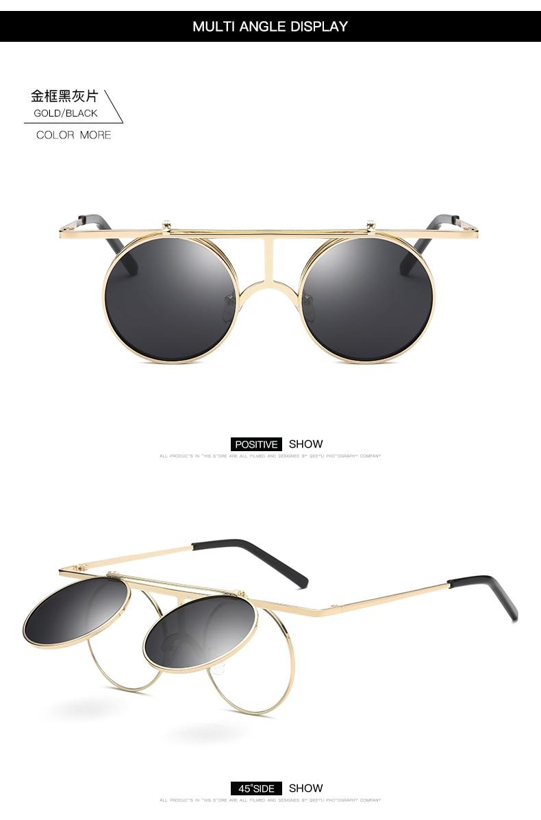 7919c70b01f6 Clamshell Style Retro Round Polarized Sunglasses for Men Women UV400 Trendy  90s Sun Glasses Steampunk Goggles Driving Glasses