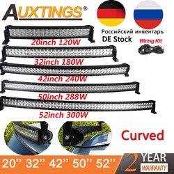 Auxtings 21 32 42 50 52 дюймов изогнутые светодиодные бар COMBO 120 Вт 180 Вт 240 Вт 300 Вт двойной ряд дальнего внедорожнике грузовик 4x4 внедорожник ATV 12 В