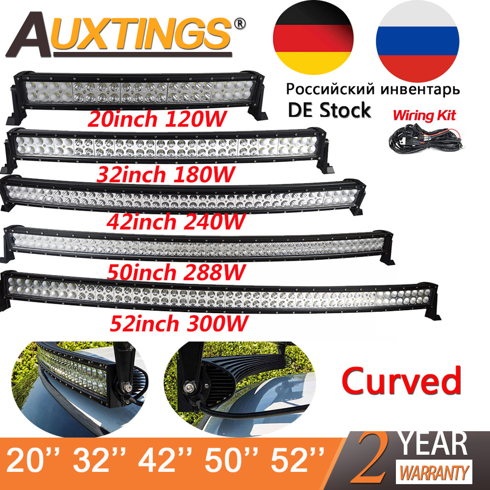 Auxtings 21 32 42 50 52 pouce Courbe Led Light Bar COMBO 120 w 180 w 240 w 300 w double Rangée Conduite Offroad Voiture Camion 4x4 SUV ATV 12 v