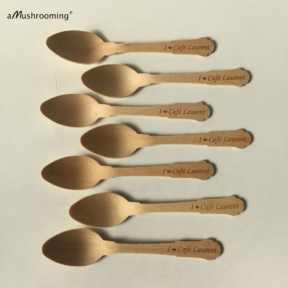 2000 Small Classic Spoons with Personalized Text Wooden mini Spoons for Dessert Yogurt Jam Jars Party