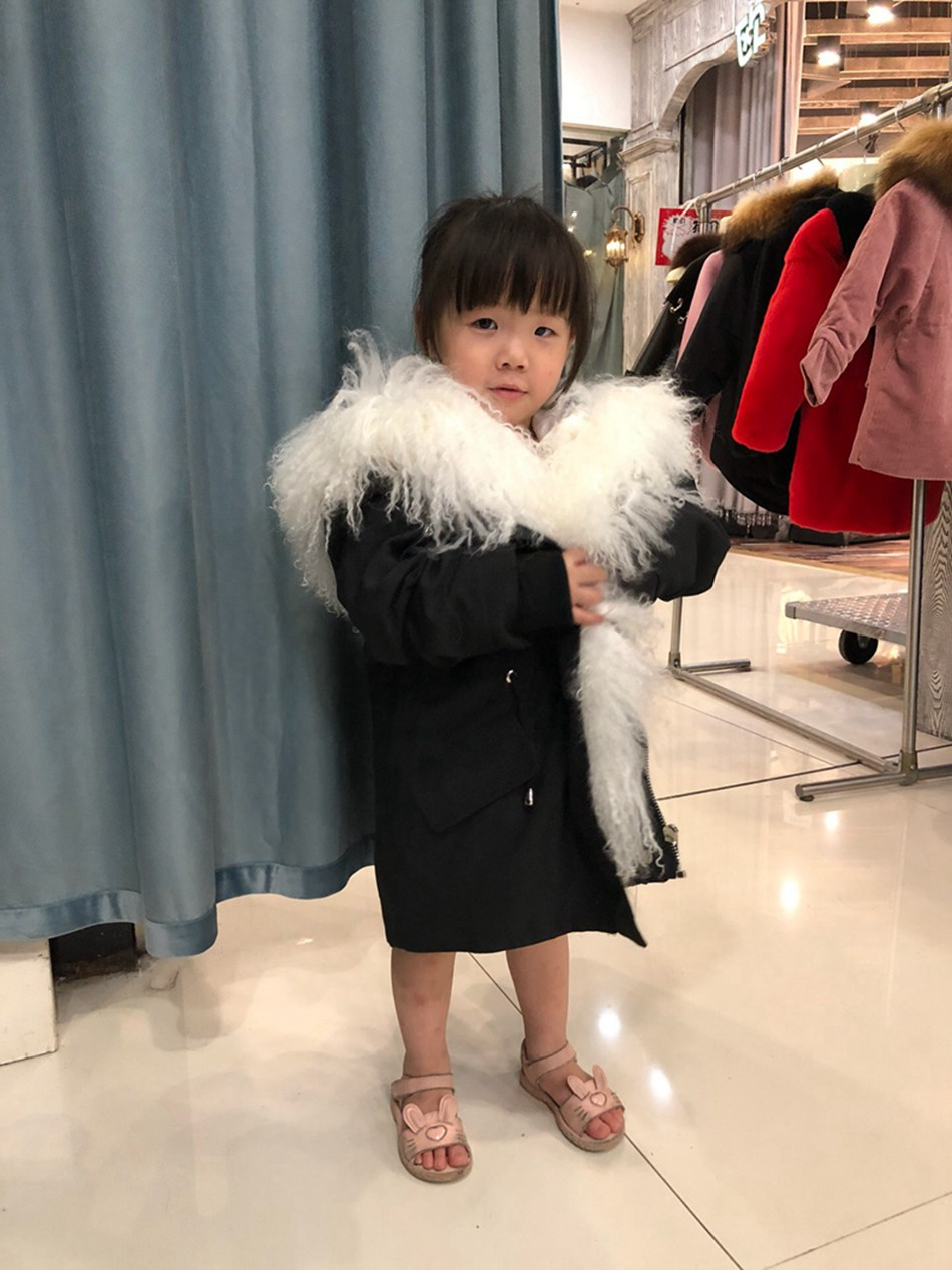Parent-childs natural fur parkas with hood (16)