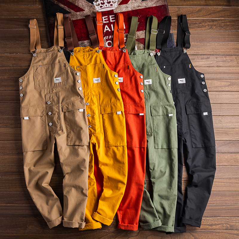 European And American  Street Stlye Jumpsuit Men's Casual Retro Tooling Trend Overalls Multicolor Casual Bib