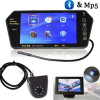 2017 Newest Hd 7 Inch Car Monitor with Car Rear view camera SD USB Solt Bluetooth Hands Free MP5 Video parking Camera 8 LEDs