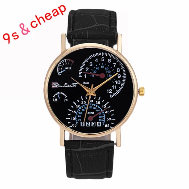 5b1fedf67 Hombres banda de cuero analógico reloj de cuarzo de negocios lujo de la  alta calidad a estrenar envío libre 0717