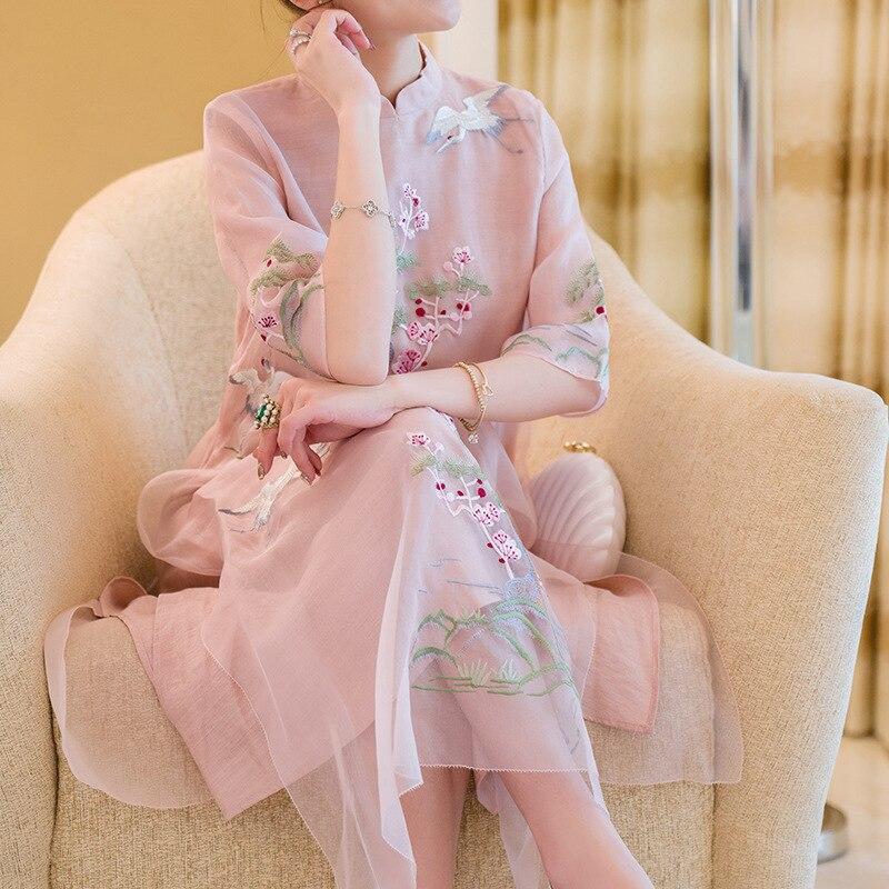 Ricamo Estate Elegante Vestito Molla Basamento Split Seta Del Di Cheongsam Migliorato Collare Sottile pink Modo Organza Cinese Stile White Della Da 55a6qwS