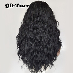 Image 2 - QD Tizer Loose Wave Black Color Wigs Baby Hair Glueless Synthetic Lace Front Wig High Density Hair Wig for Black Women