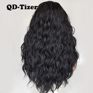 Image 2 - QD Tizer فضفاض موجة اللون الأسود الباروكات شعر الطفل غلويليس الاصطناعية الدانتيل شعر مستعار أمامي عالية الكثافة الشعر لمة لأسود النساء
