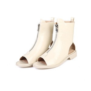 Image 2 - MORAZORA 2020 הגעה חדשה קרסול מגפי נשים פטנט עור קיץ מגפי zip בוהן ציוץ גלדיאטור פאנק נעלי אישה מגפיים