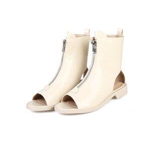 Image 2 - MORAZORA Botines de charol para mujer, botas de gladiador con cremallera y Punta abierta, zapatos de estilo punk, novedad de 2020