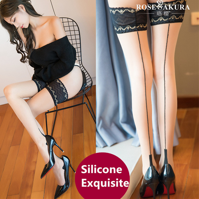 10D Vintage Back Seam Womens Stay Up Thigh-high Stockings Legs Anti-slip Silicone Exquisite Lace Top Heel Shaped Stockings 915
