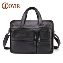 JOYIR Fashion Men's Genuine Leather Briefcase Retro Men 15-inch laptop briefcase Business Messenger Bag Leather Shoulder Bag цена в Москве и Питере