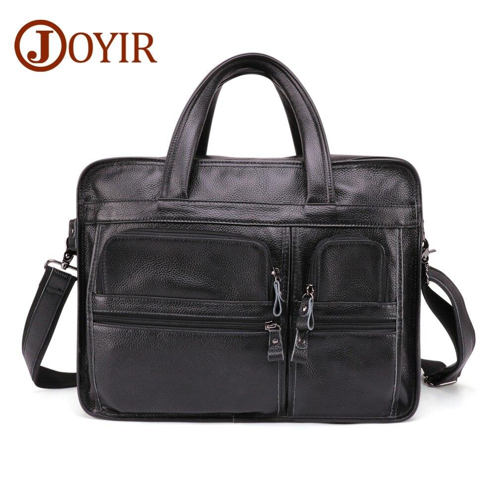 JOYIR mode porte-documents en cuir véritable pour homme rétro hommes 15 pouces sacoche pour ordinateur portable affaires Messenger sac en cuir sac à bandoulière