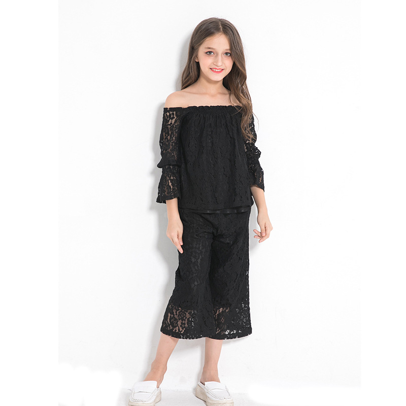 Tween Girl Fashion Black: Elegant Teenage Girls Clothing Two Pieces Black Lace Sets