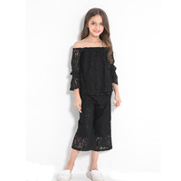 Elegant Teenage Girls Clothing Two pieces Black Lace Sets Princess Party Clothing 10 12 14 years