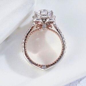 Image 3 - 固体 10 18kホワイトとイエローゴールドセンターdf色 1ctwモアッサナイトダイヤモンドヴィンテージの婚約指輪女性ブライダルウェディング