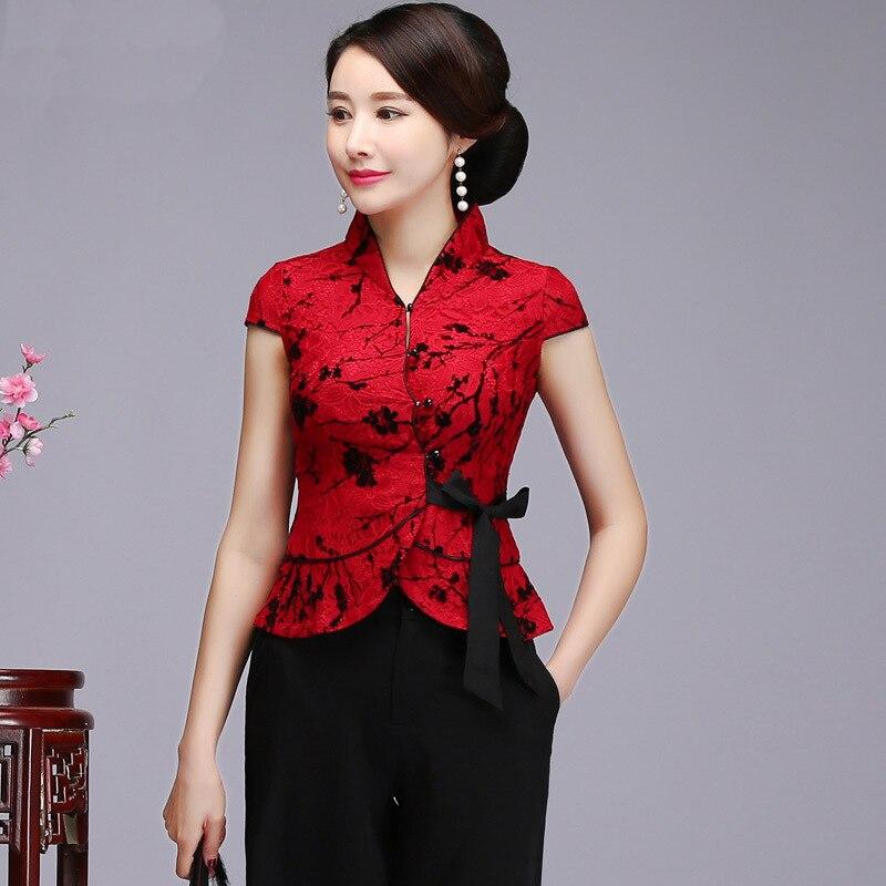 Grande taille 5XL Sexy rouge dentelle chemise mère mariage vêtements chinois Vintage Mandarin col Tang Top élégant à manches courtes Blouse