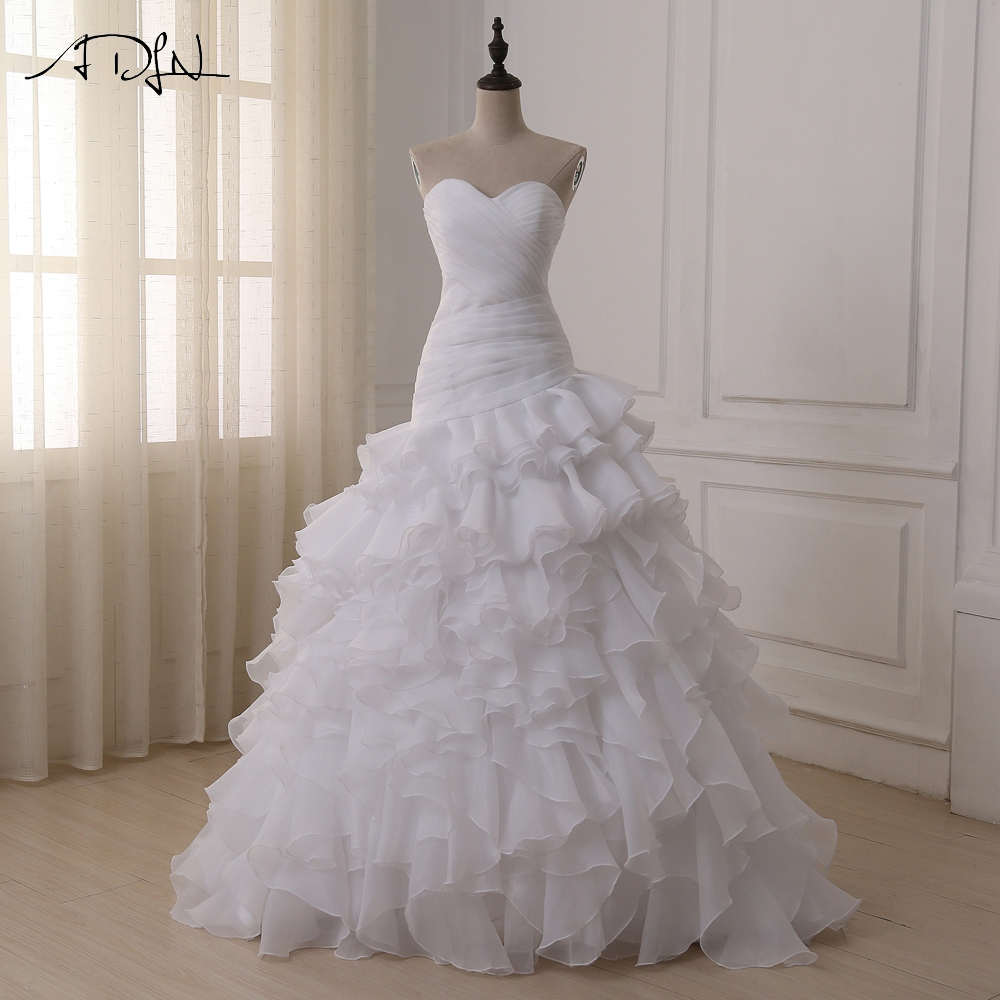ADLN en Stock robes de mariée sirène personnalisé sur l'épaule plis à volants Organza robes de mariée robes de Novia 2019