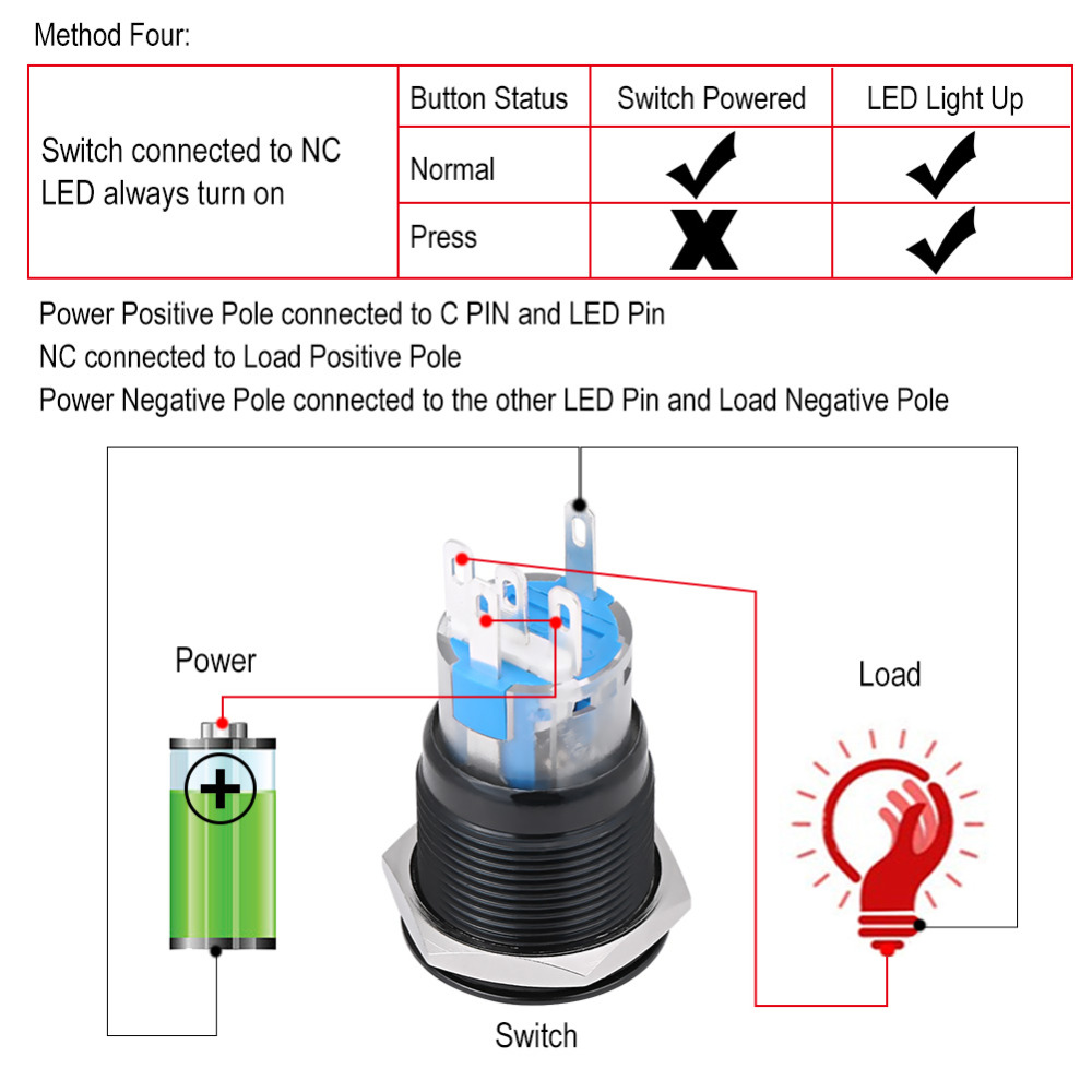DC 12V Ignition Starter OFF- Momentary Switch Multi-functional Start Push Button Switch Vehicle Car Engine Start Button Ignition Switch ON Red