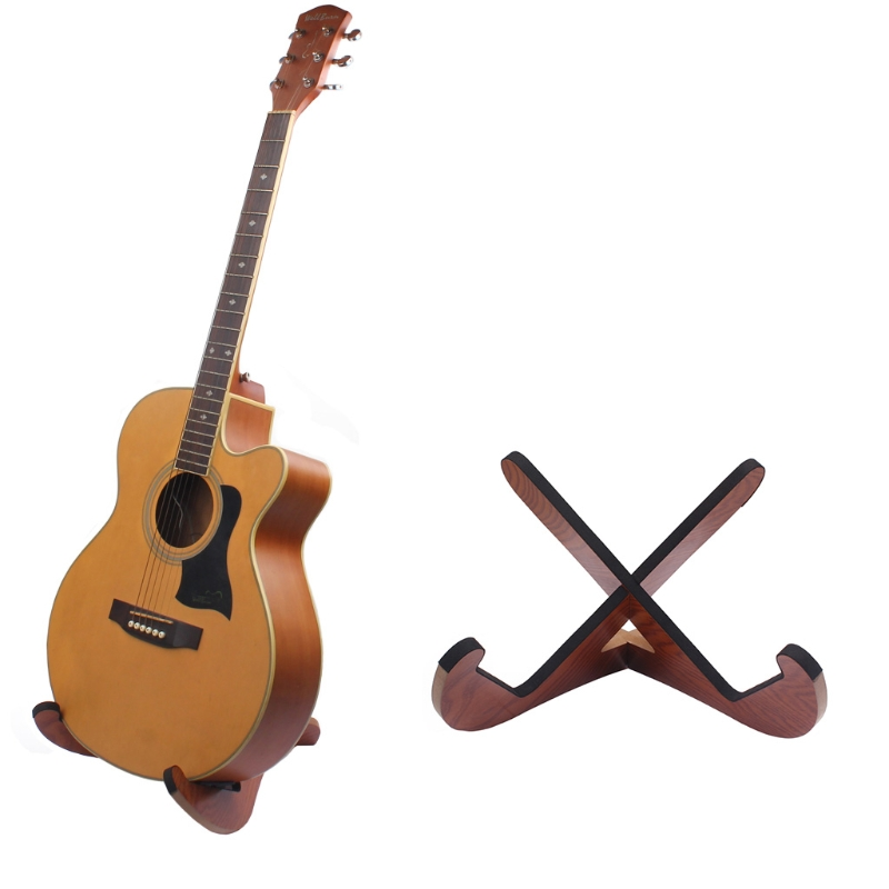 Foldable Wood Wooden Stand Holder For Guitar Electric Bass Ukulele Violin Banjo handmade new solid maple wood brown acoustic violin violino 4 4 electric violin case bow included