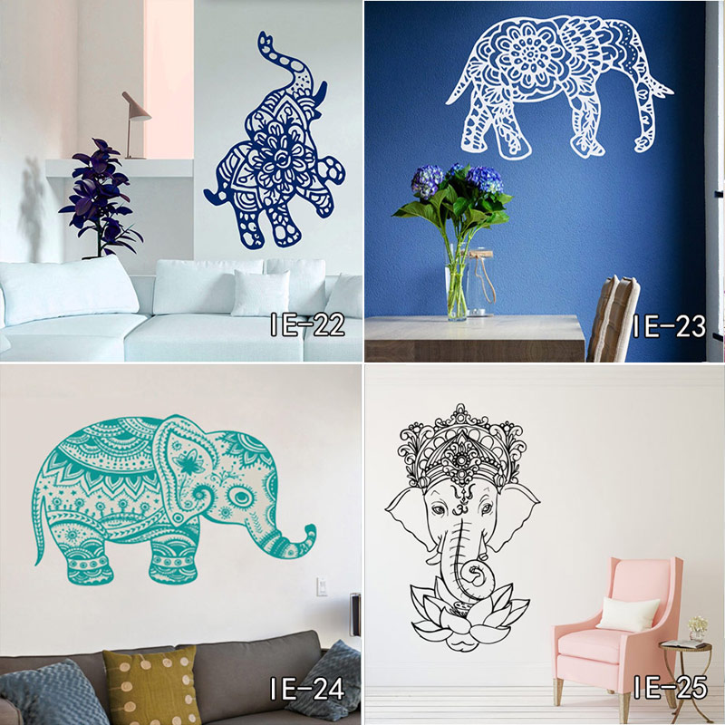 Indian Hinduism Wall Sticker Home Decorations Vinyl Wall Decal Elephant Buddhism India Indian Buddha Om Yoga God Home Decor