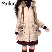 Artka Women S Vintage Style Luxury Thermal With Cartoon Raccoon Fur Embroidery Top Medium Lon White