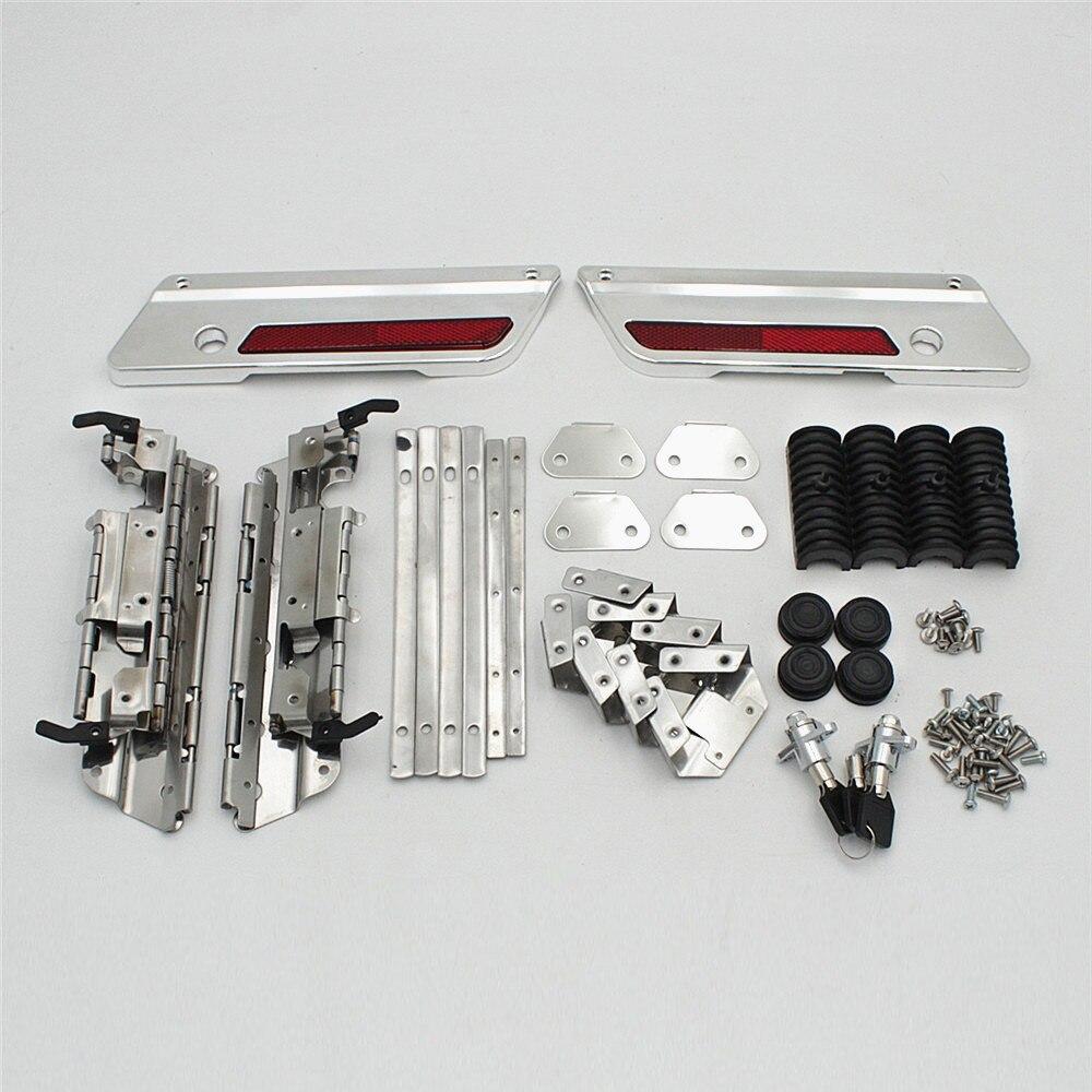 Chrome Latches Cover Hinge Saddlebag Latch Hardware Set Kit For Harley Saddlebag Motorcycly Custom