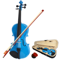 New 4/4 Acoustic Violin with Storage Case Bow Rosin Dark Blue Violin Kit for Learners Beginners Professional Violin US Stock