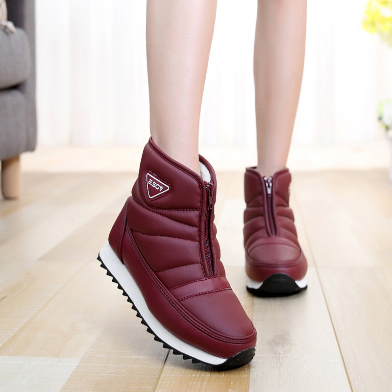 Women boots 2017 new arrivals Zipper PU leather women winter shoes waterproof ankle boots snow boots bota feminina size 35-45 pu leather martins women boots snow boots military girls for casual walking shoes winter femme bota 2017 7687
