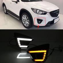 Araba Yanıp Sönen Için 1 Çift DRL Mazda cx-5 cx5 2012 2013 2014 2015 2016 led gündüz koşu ışık dönüş sinyali sarı 12 V sis lamba...