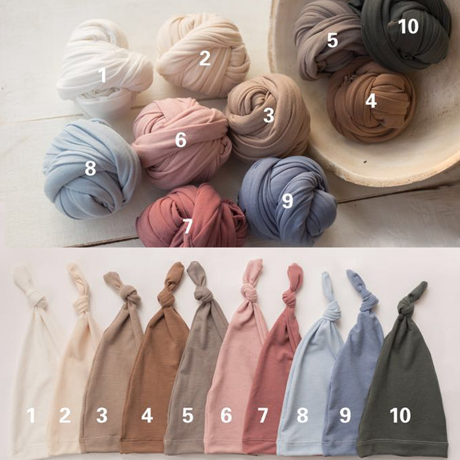 2pcs/set Cotton Soft Baby Swaddle Wrap Newborn Photo Prop,Cute Baby Blanket+Hat Set Newborn Photography, #P2404