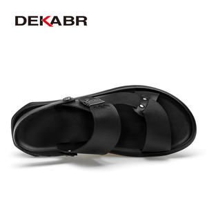 Image 2 - DEKABR 2021 New Arrival Fashion Summer Genuine Leather Beach Men Shoes High Quality Leather Flip Flop Mens Sandals Size 38 45