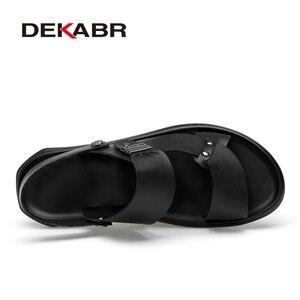 Image 2 - DEKABR 2021 nuovo arrivo moda estate vera pelle da spiaggia scarpe da uomo in pelle di alta qualità infradito sandali da uomo taglia 38 45