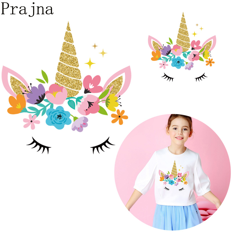 Prajna New Kids Iron On Transfers For Clothes Fashion Unicorn Patch Thermal Heat Transfer Vinyl Printed Appliques DIY Wholesale in Patches from Home Garden