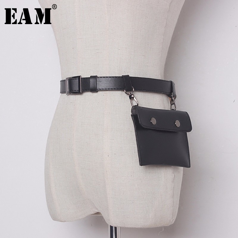 [EAM] 2019 New Spring Leisure Chain Split Joint Solid Color Black PU Leather   Belt   Women Fashion Tide All-match JC89401