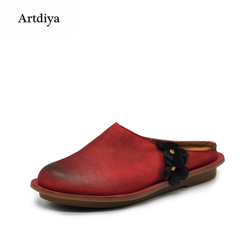 Artdiya Original Vintage Women Sandals Female Round Toe Comfortable Genuine Leather Flower Handmade Slippers 03550