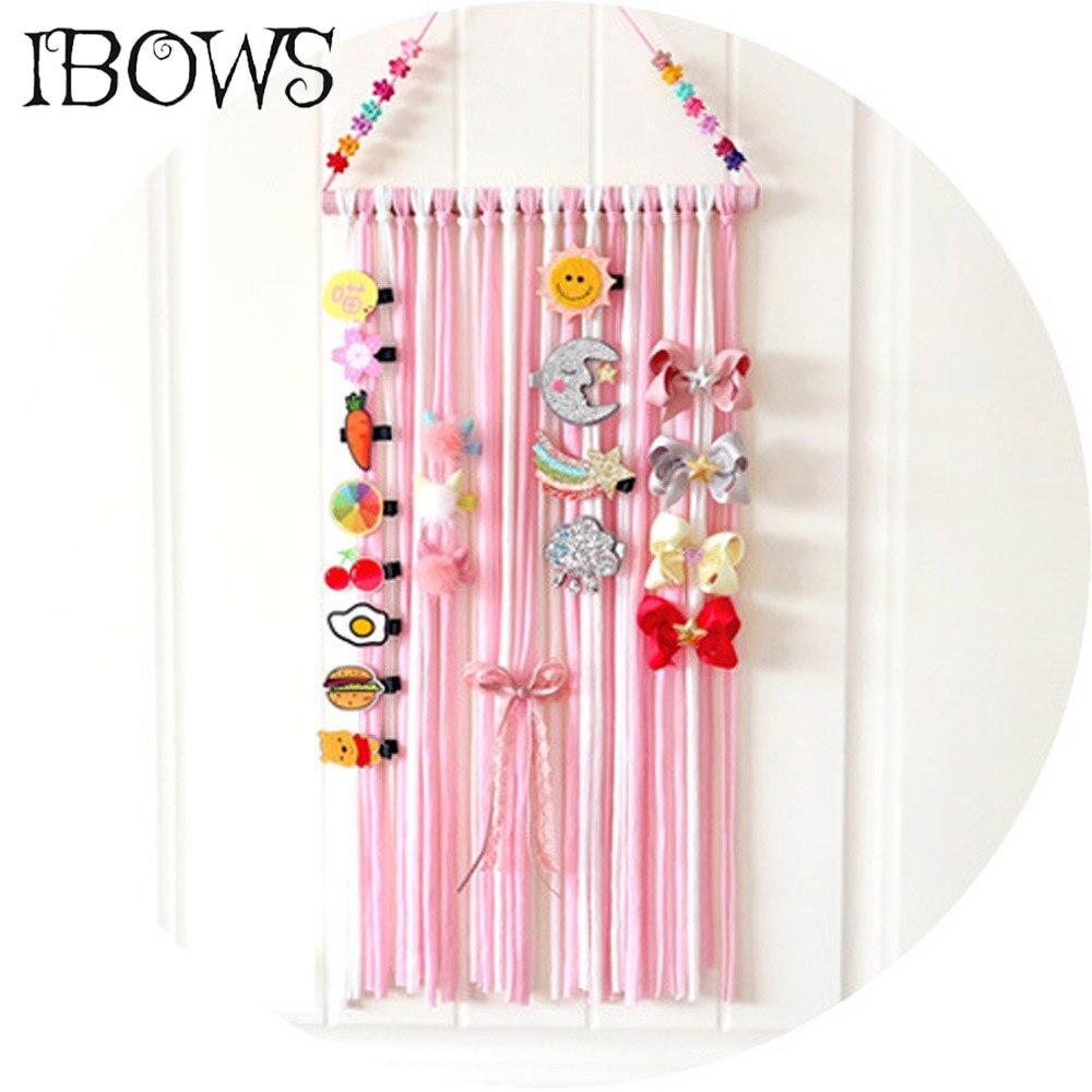 Large Rainbow Hair Bows Holder Wide Hair Clips Hairpins Storage Belt Boutique Barrettes Organizer For Girls Hair Accessories